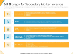 Investor Pitch Deck Post Market Financing Exit Strategy For Secondary Market Investors Microsoft PDF