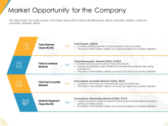 Investor Pitch Deck Post Market Financing Market Opportunity For The Company Icons PDF