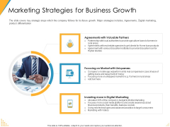 Investor Pitch Deck Post Market Financing Marketing Strategies For Business Growth Portrait PDF