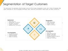 Investor Pitch Deck Post Market Financing Segmentation Of Target Customers Slides PDF
