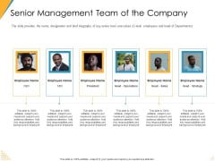 Investor Pitch Deck Post Market Financing Senior Management Team Of The Company Pictures PDF
