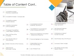 Investor Pitch Deck Post Market Financing Table Of Content Cont Ppt Show Summary PDF