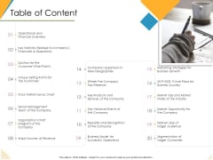 Investor Pitch Deck Post Market Financing Table Of Content Ppt Diagram Templates PDF