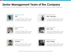 Investor Pitch Deck Public Offering Market Senior Management Team Of The Company Formats PDF