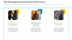 Investor Pitch Deck Short Term Caveat Loan Top Management And Board Of Directors Add Graphics PDF