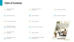 Investor Pitch Deck To Generate Capital From Pre Seed Round Table Of Contents Icons PDF