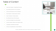 Investor Pitch Gain Funding From ICO Table Of Content Clipart PDF