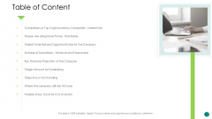 Investor Pitch Gain Funding From ICO Table Of Content Portrait PDF