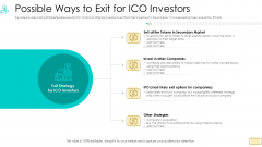 Investor Pitch Ppt For Crypto Funding Possible Ways To Exit For ICO Investors Formats PDF