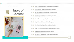 Investor Pitch Ppt For Crypto Funding Table Of Content Inspiration PDF