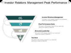 Investor Relations Management Peak Performance Sales Executive Leadership Ppt PowerPoint Presentation Icon Model