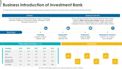 Investors Pitch General Deal Mergers Acquisitions Business Introduction Of Investment Bank Mockup PDF