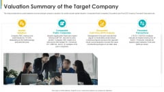 Investors Pitch General Deal Mergers Acquisitions Valuation Summary Of The Target Company Information PDF