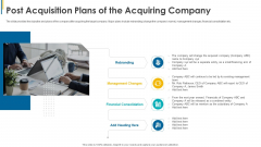 Investors Pitch General Deal Mergers Post Acquisition Plans Of The Acquiring Company Icons PDF