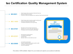 Iso Certification Quality Management System Ppt PowerPoint Presentation Infographic Template Influencers PDF