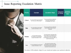 Issue Reporting Escalation Matrix Ppt PowerPoint Presentation Inspiration Graphics Template