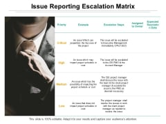 Issue Reporting Escalation Matrix Ppt PowerPoint Presentation Model Guide