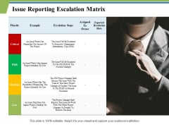 Issue Reporting Escalation Matrix Ppt PowerPoint Presentation Show Templates