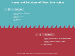 Issues And Solutions Of Client Satisfaction Ppt PowerPoint Presentation Styles Information