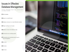 Issues In Effective Database Management Ppt PowerPoint Presentation Gallery Example Introduction PDF