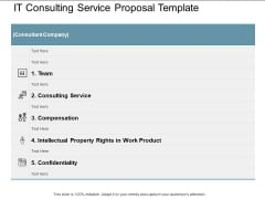 It Consulting Service Proposal Template Ppt Powerpoint Presentation Ideas Good