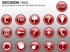 Icons For Decision Tree Nodes PowerPoint Slides