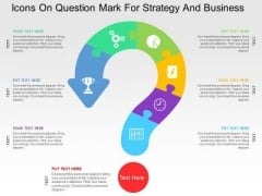 Icons On Question Mark For Strategy And Business PowerPoint Templates