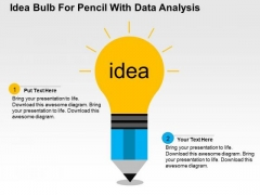Idea Bulb With Pencil For Data Analysis PowerPoint Template