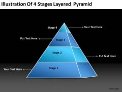 Illustration Of 4 Stages Layered Pyramid Hotel Business Plan Template PowerPoint Templates