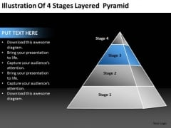 Illustration Of 4 Stages Layered Pyramid Ppt Business Plan PowerPoint Templates