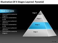 Illustration Of 4 Stages Layered Pyramid Ppt Service Business Plan PowerPoint Slides