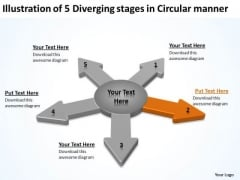 Illustration Of 5 Diverging Stages Circular Manner Gear Chart PowerPoint Slides