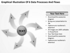 Illustration Of 6 Data Processes And Flows Circular Diagram PowerPoint Slides