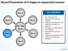 Illustration Of 6 Stages In Sequential Manner Flow Circular Diagram PowerPoint Templates