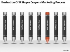 Illustration Of 8 Stages Crayons Marketing Process Ppt Business Plan PowerPoint Templates
