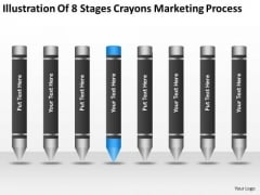Illustration Of 8 Stages Crayons Marketing Process Ppt Business Plan Review PowerPoint Slides