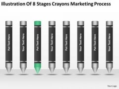 Illustration Of 8 Stages Crayons Marketing Process Ppt Businessplan PowerPoint Templates