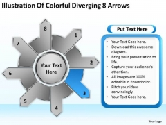 Illustration Of Colorful Diverging 8 Arrows Business Circular Flow Process PowerPoint Slides