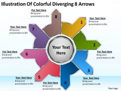 Illustration Of Colorful Diverging 8 Arrows Circular Flow Process Network PowerPoint Slides