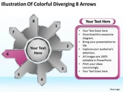Illustration Of Colorful Diverging 8 Arrows Cycle Motion Chart PowerPoint Slides