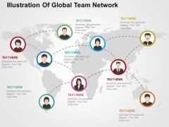 Illustration Of Global Team Network PowerPoint Templates