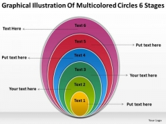 Illustration Of Multicolored Circles 6 Stages Business Planning PowerPoint Templates