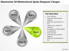 Illustration Of Multicolored Spoke Diagram 5 Stages Business Plan Excel PowerPoint Templates