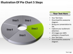 Illustration Of Pie Chart 5 Step Business Plan Steps PowerPoint Slides
