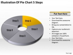 Illustration Of Pie Chart 5 Step Simple Business Plan PowerPoint Templates