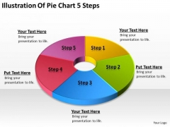 Illustration Of Pie Chart 5 Steps Business Plan PowerPoint Templates