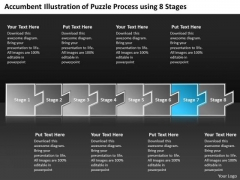 Illustration Of Puzzle Process Using 8 Stages Business Prototyping PowerPoint Slides