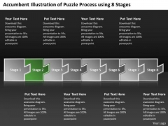 Illustration Of Puzzle Process Using 8 Stages Flow Diagram PowerPoint Slides