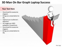 Images Of Business People 3d Man On Bar Graph Laptop Success PowerPoint Slides