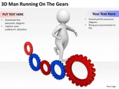 Images Of Business People 3d Man Running On The Gears PowerPoint Templates